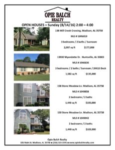 Aug 14 Open Houses